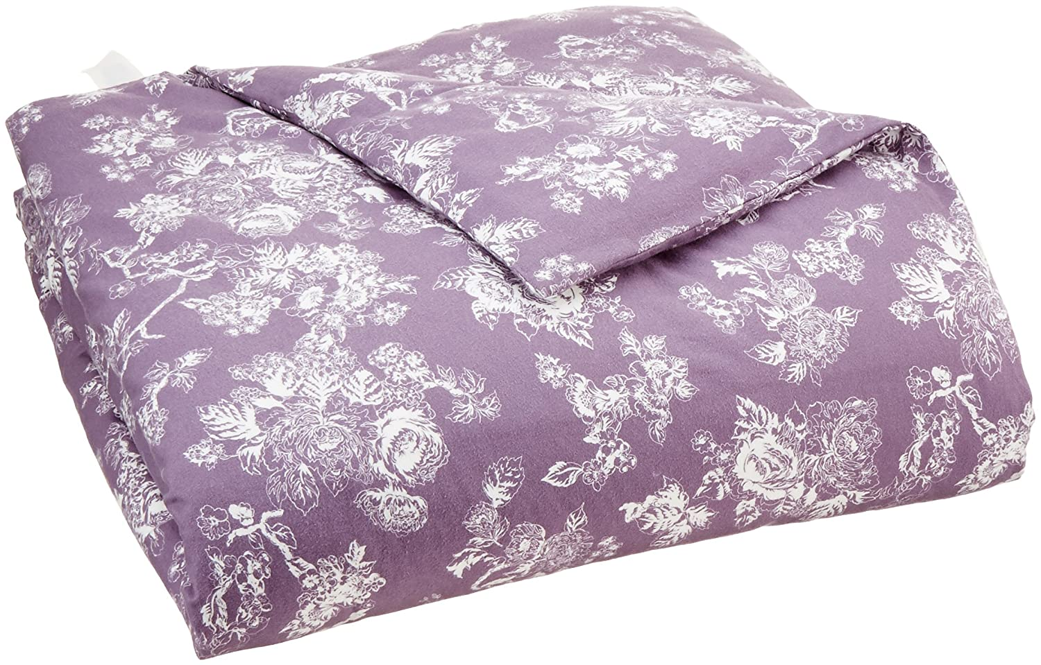 AmazonBasics Printed Lightweight Flannel Duvet Cover - Full/Queen, Floral Grey