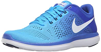 official photos c3e48 a0f82 Nike Women s Flex 2016 RN Running Shoe, Glow White Racer Blue Midnight