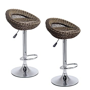 buy popular 7656e 44c15 Cherry Tree Furniture SET OF 2 Wicker Rattan High Swivel Bar Stools Kitchen  Stools MB212 (Brown)
