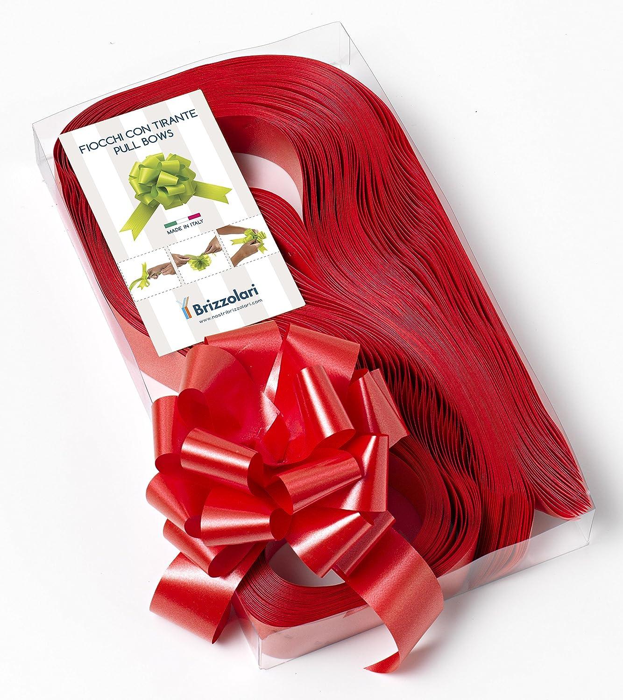 Brizzolari Conf. 50 Fiocchi Rapidi Nastri, Rosso, 31 mm, Matrimonio Natale Laurea, Larghezza 004553_07