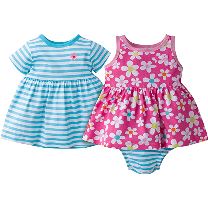 52c06f725263 Amazon.com  Gerber Baby Girls  3-Piece Dress and Bloomer Set
