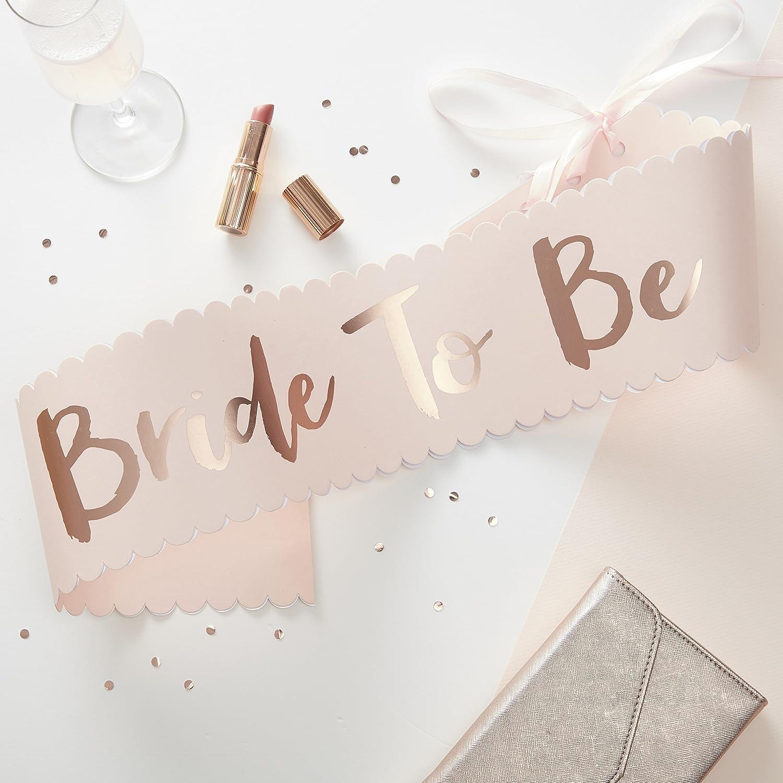Team Bride Pink /& Rose Gold Bride To Be Sash