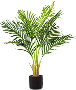 "PLANTAE Mini Artificial Areca Palm Tree 30"" Inch Tall 8 Realistic Branches Faux Plant for Home and Office Decor Indoor"