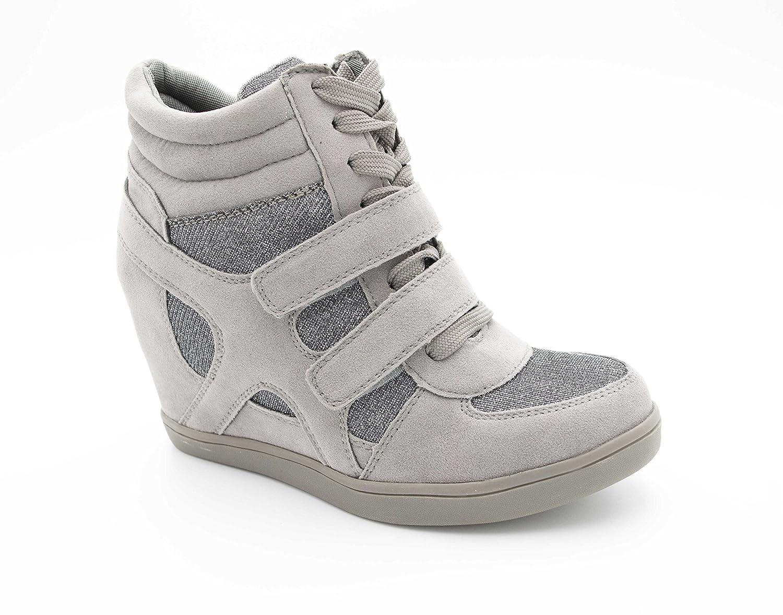 c4e9ee554fa Baskets Compensées Femmes - Sneakers Tennis Casuel Montantes - Chaussure  Talon Haut - Bi-matière Daim Scintillante Brillant - Scratch Lacet Suédine   ...