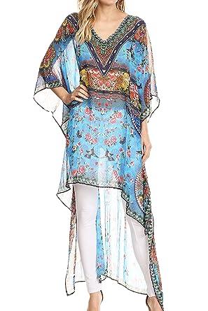 36e6d9e34a3dc Sakkas P23 - HiLowKaftan Zeke Hi Low V-Neck Caftan Dress Boxy Printed Top  Cover