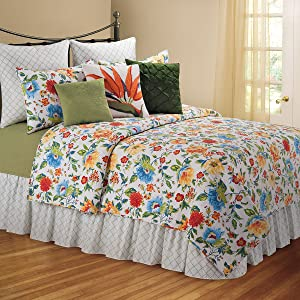 C&F Home Sabrina 3 Piece Quilt Set All-Season Reversible Bedspread Oversized Bedding Coverlet, Full/Queen Size, Green