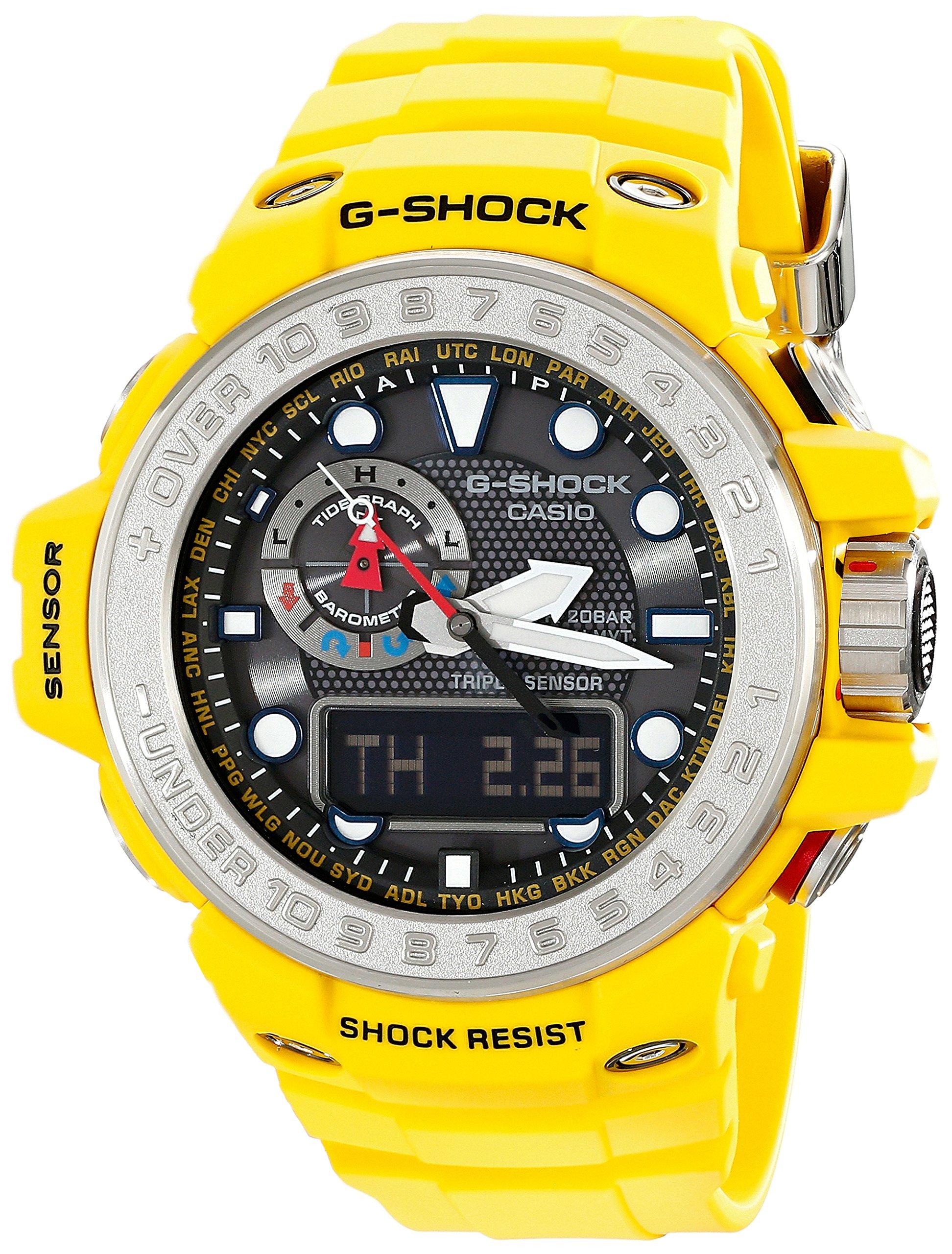 Casio Gulfmaster Smoke Dial Yellow Resin Solar Quartz Men's Watch GWN1000-9A
