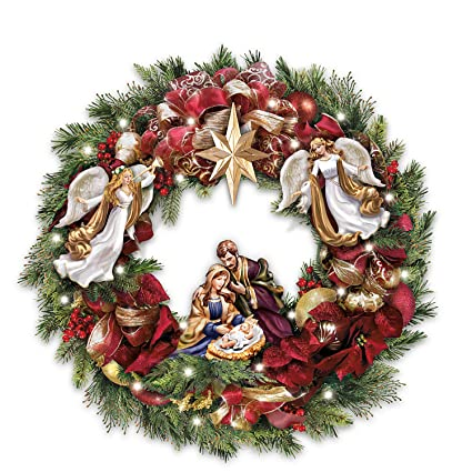 Amazon Com Thomas Kinkade Illuminated Nativity Wreath With Sculpted