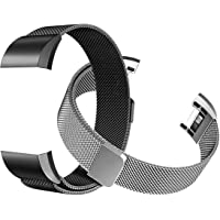 Tecson Magnetic Bands Compatible Fitbit Charge 2 (Pack of 2), Stainless Steel Metal Milanese Replacement Strap with Magnet Lock for Fitbit Charge 2