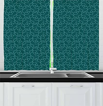 Ambesonne Teal Kitchen Curtains, Abstract Line Art Modern Expressionist  Design Water Drop Pattern In Various