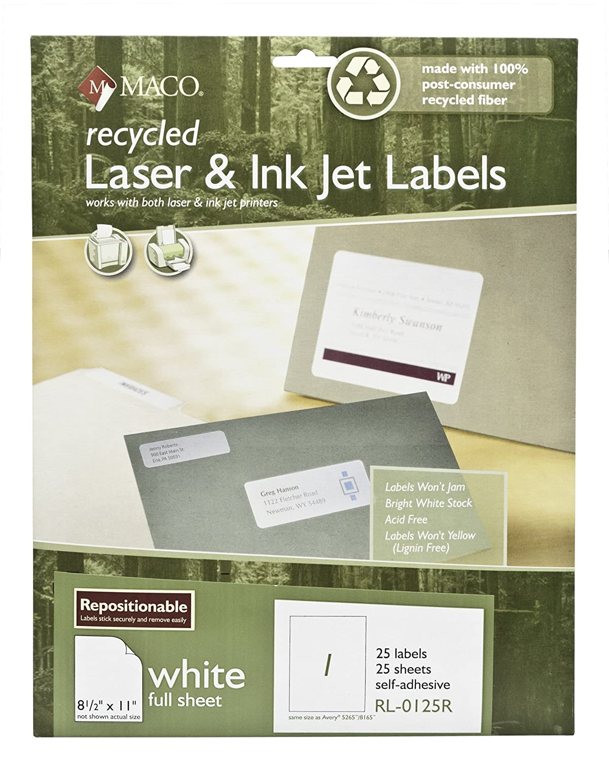 MACO Recycled Repositionable Laser/Ink Jet White Full Sheet Labels, 8-1/2 x 11 Inches, 1 Per Sheet, 100 Per Box (RL-0125R) Chartpak Inc.