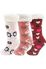 Fluffy Thermal Sherpa Slipper Socks, 3 Pairs for Women, Ultra Soft Christmas Winter Non Skid