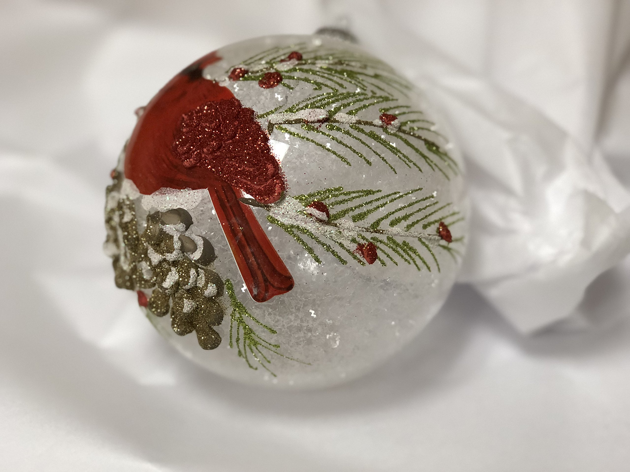 Red Cardinal, Branches and Berries Glass Ball Christmas Tree Ornament, 5 Inches