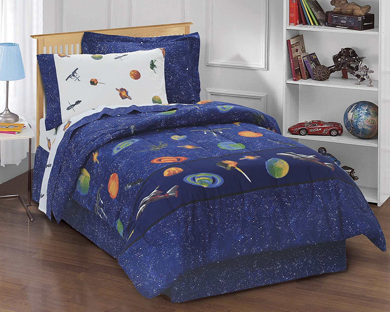amazoncom dream factory outer space satellites boys comforter set blue twin home u0026 kitchen