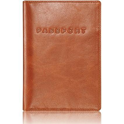 KAVAJ Protège-Passeport en Cuir Étui Passeport Rome en Marron-Cognac RFID  Blocage - c5a14d117ef