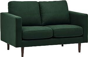 """Rivet Revolve Modern Upholstered Loveseat with Tapered Legs, 56.3""""W, Heritage Green"""