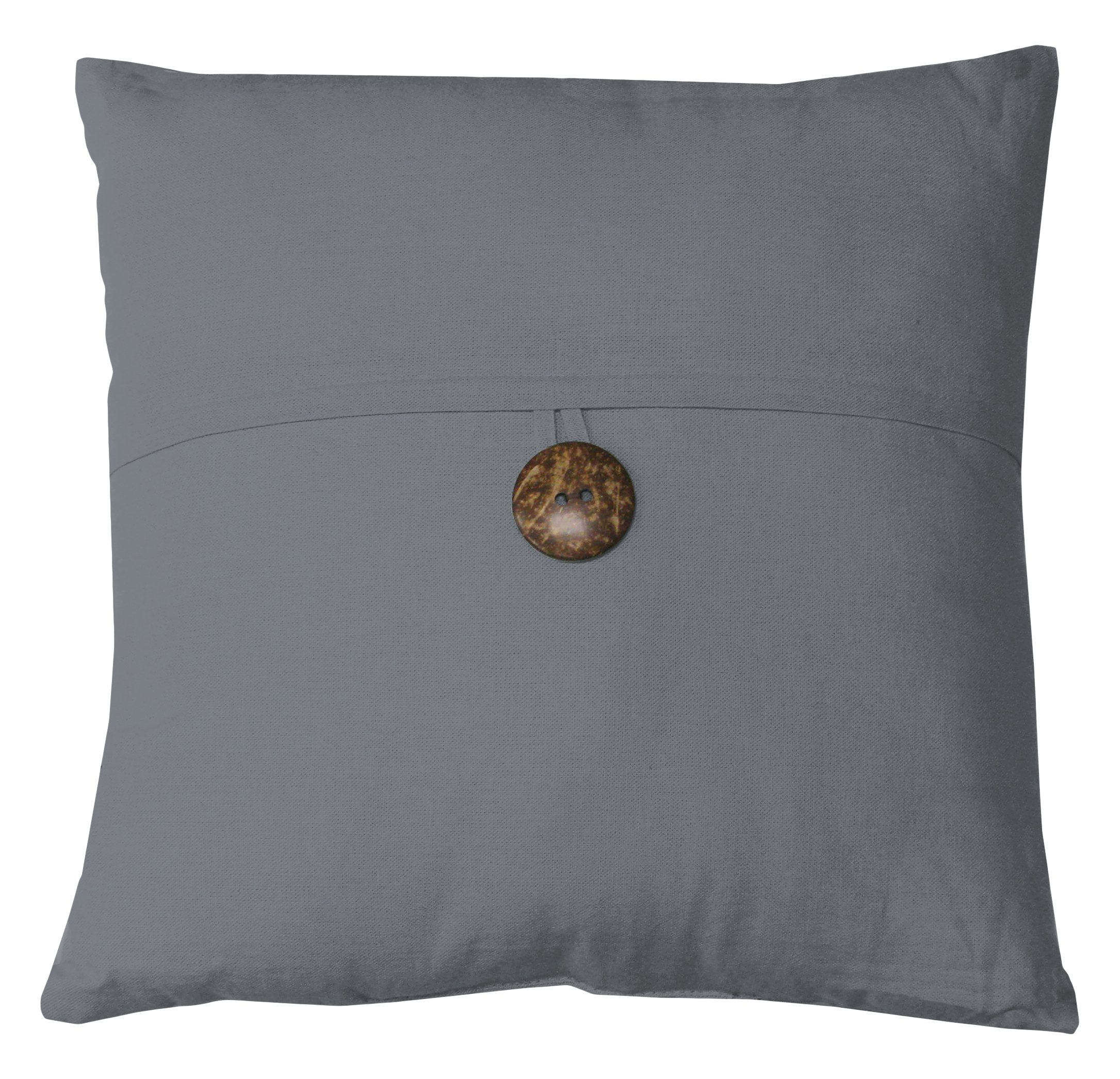 Elrene Home Fashions 026865880052 Decorative Linen Solid Couch/Sofa/Bed Cushion Pillow, 18'' x 18'', Gray