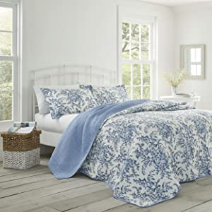 Laura Ashley Bedford Blue Quilt Set, Full/Queen