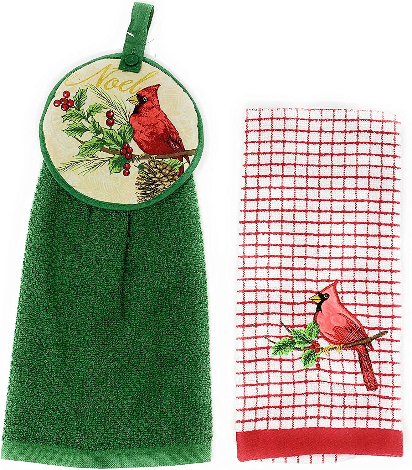 2-Pack Northeast Home Goods Embroidered Textured Cotton Hanging Kitchen Tie Towel Set Poinsettia /& Cardinal