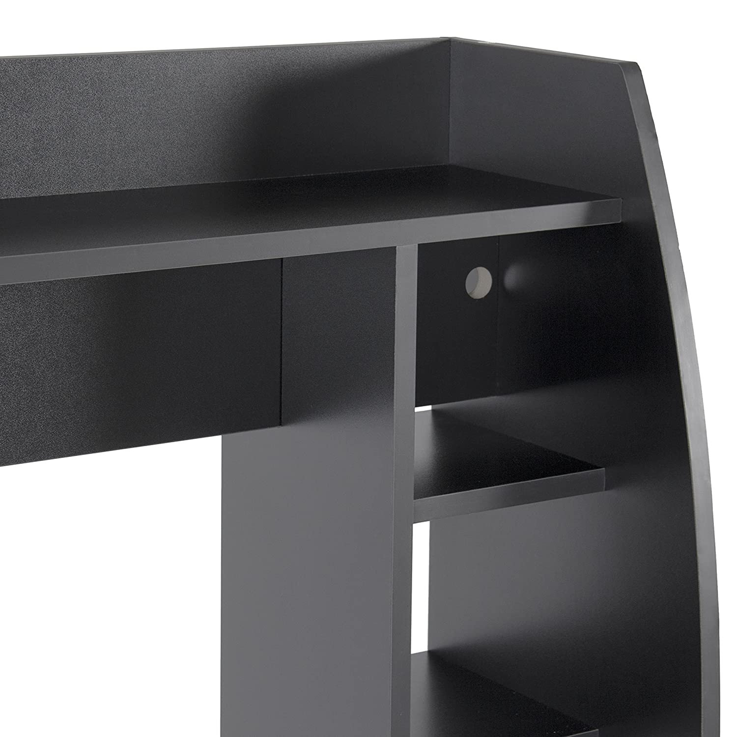 Amazon.com: Best Choice Products Wall Mount Floating Computer Desk With  Storage Shelves Home Work Station- Black: Home & Kitchen