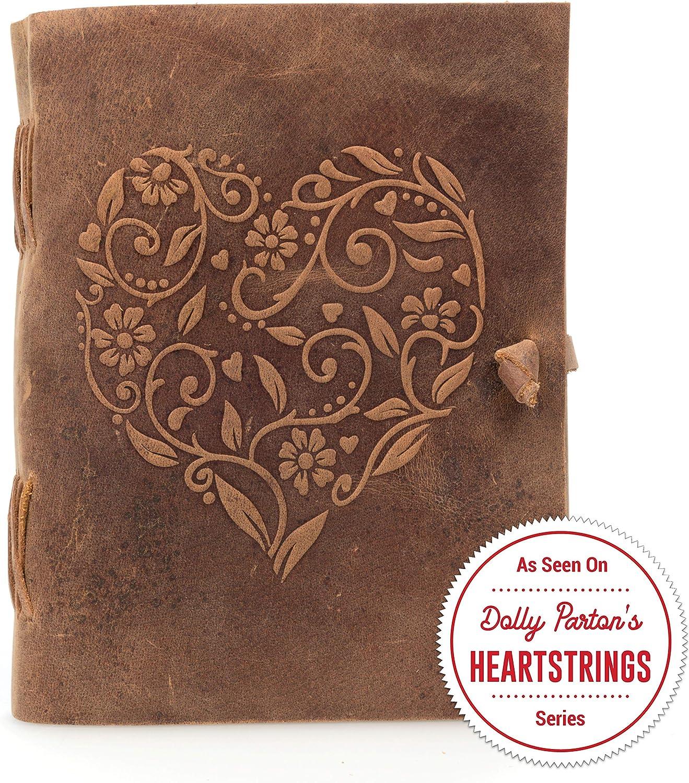 Moonster Cuaderno de Cuero Genuino para Mujer – Diario de Escritura Hecho a Mano con Corazón Gravado – Diario de Cuero para Dibujar y Escribir – El Cuaderno de Viaje de Tamaño Perfecto 20x15 cm