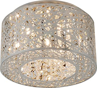 ET2 E21300 10PC Inca Round Crystal Flush Mount Lighting 7 Light
