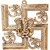 Jaipuri Haat Gold Finish Wall Hanging of Lord Ganesha On Swastik with Om (22X24 cm)