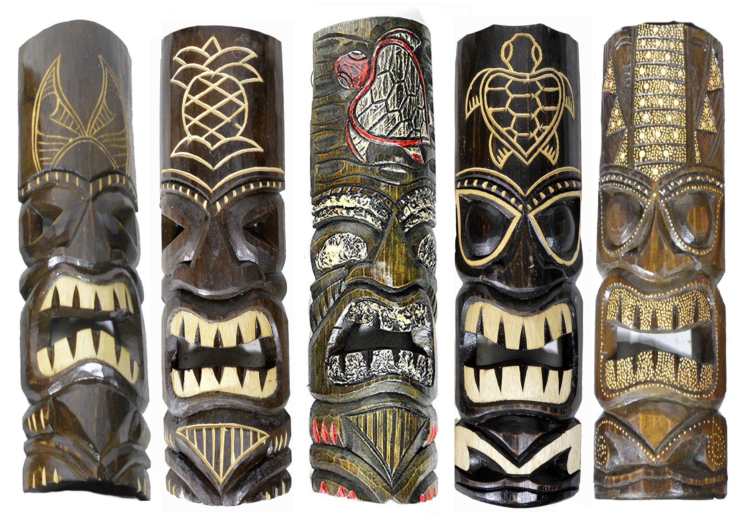 Black Night 20'' Large Set of 5 Polynesian Hawaiian Tiki Style Wall Masks