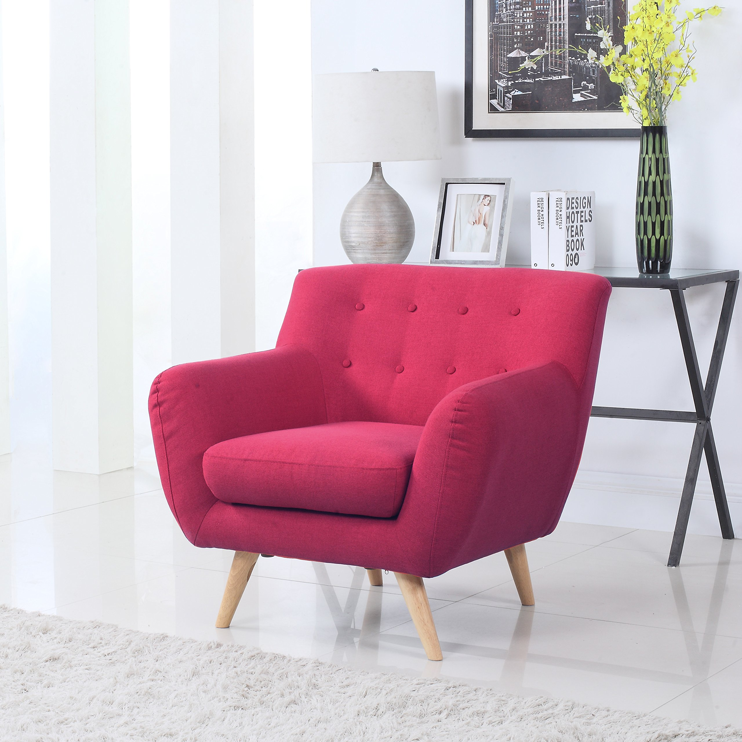 Divano Roma Furniture Modern Mid Century Style Sofa, Red, 1 Seater by Divano Roma Furniture
