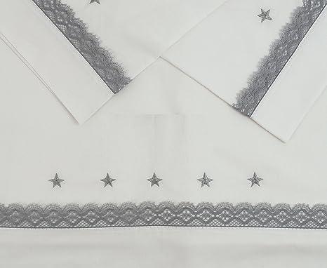 Sabanas 100% Algodón CUNA 60X120 con detalle de estrellas bordadas ...