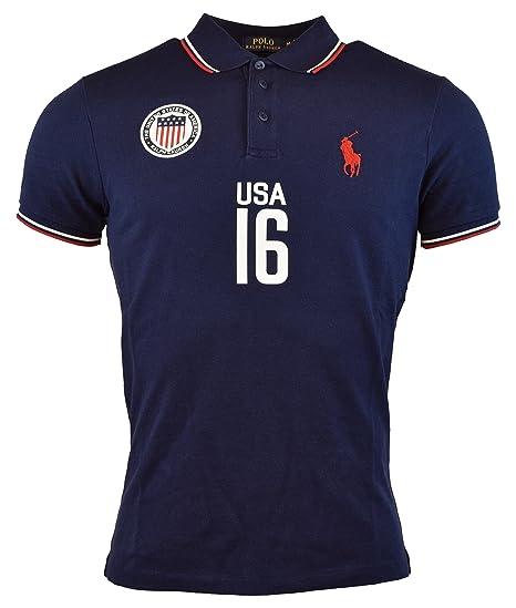Polo Ralph Lauren Mens Custom Fit Usa Polo Shirt Xl Navy At
