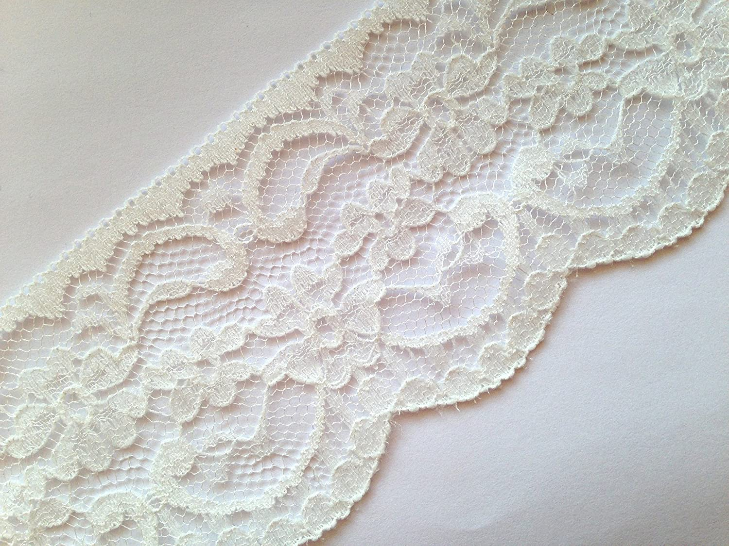 'Sparkles Gems' Vintage Style Lace Ribbon Trimming Bridal Wedding (Ivory, 60mm)