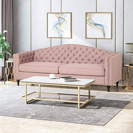 Amazon Com Mid Century Modern Style Camelback Sofa Upholstered Fabric Traditional Design Foam Seating Couch Light Blush Tight Seat Square Arms Tufted Back 89 0 Wide Living Room Furniture Home Decor Kitchen