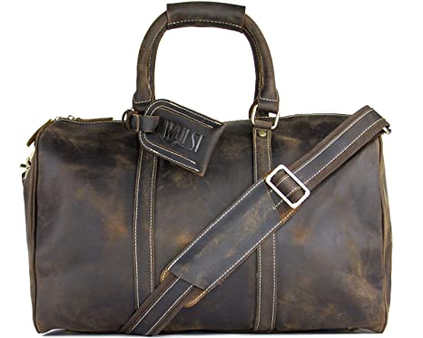 d3507540f7 WALL ST MAKER The Weekender Large Duffel Bag Genuine Leather Tote Carry-On Travel  Bag