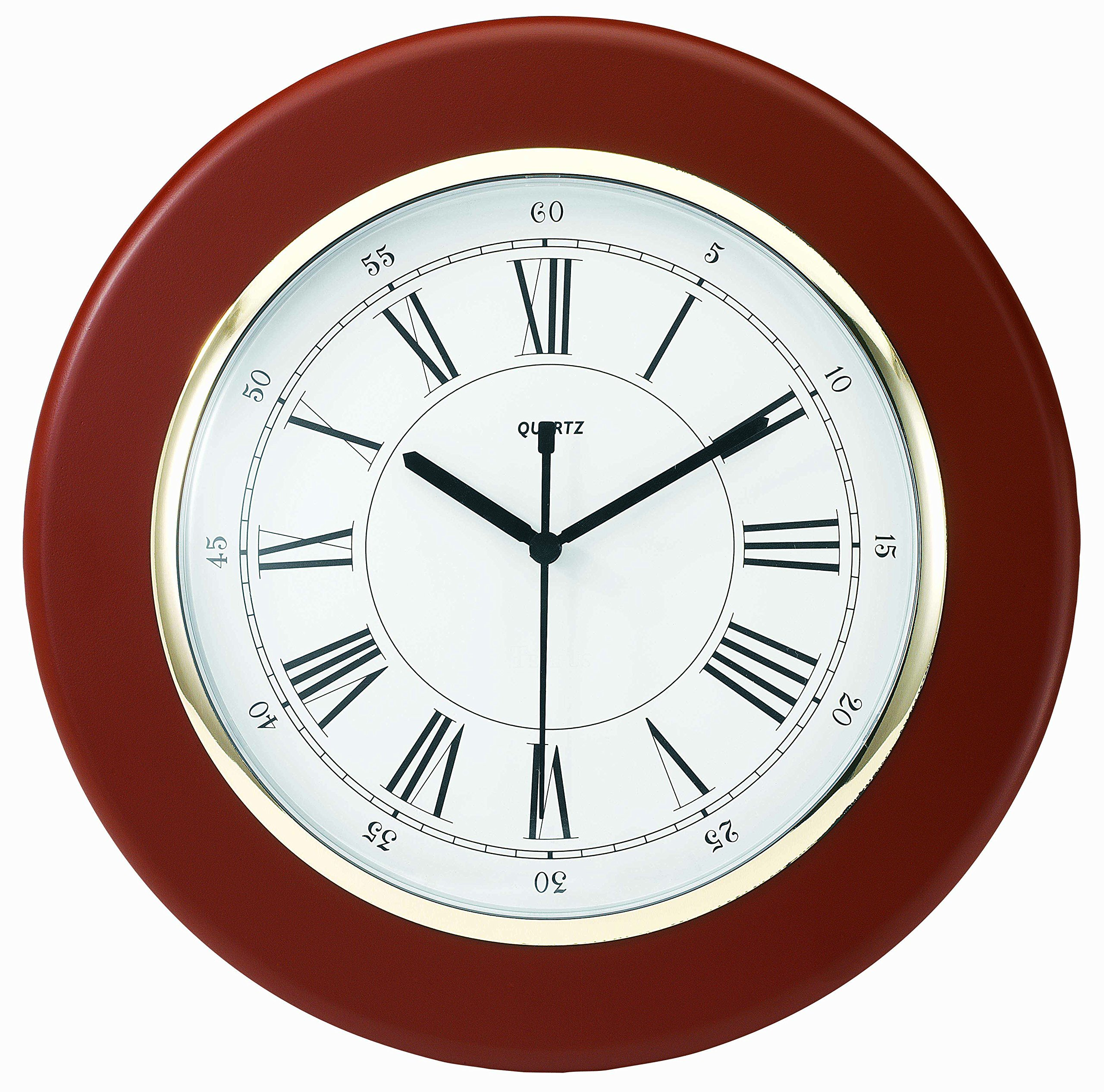 Tempus® TC6027R Wall Clock with Finish Wood Frame and Daylight Saving Time Auto-Adjust Movement, 13'', Mahogany