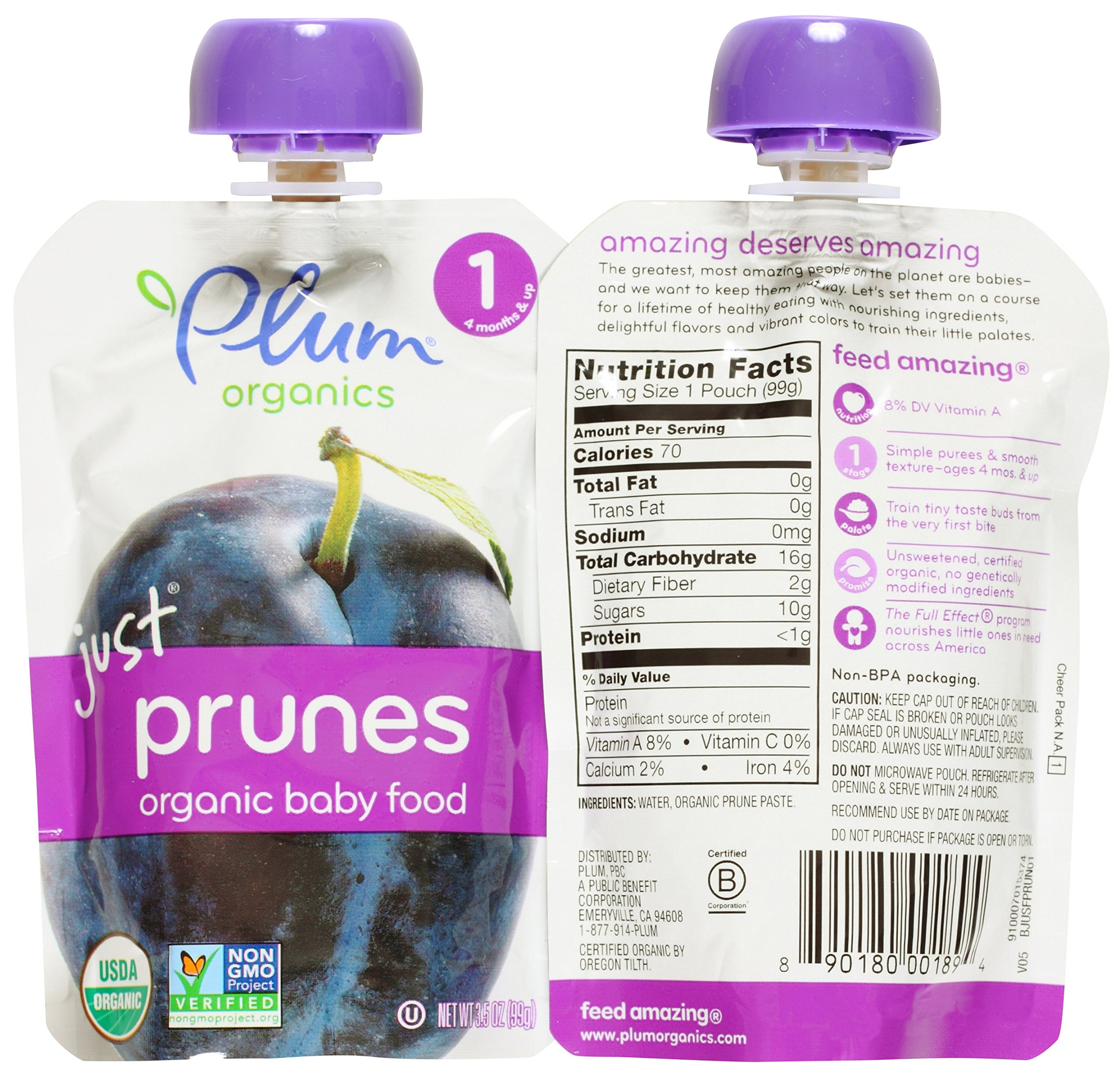 Plum Organics Stage 1 Just Fruit & Veggies Variety Pouch Bundle: (2) Just Prunes 3.5oz, (2) Just Mangos 3.5oz, (2) Just Sweet Potato 3oz, and (2) Just Peaches 3.5oz (8 Pack Total) by Plum Organics (Image #2)