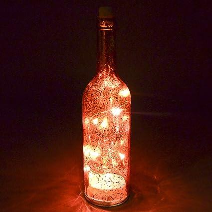 luz 15 LED Botella diseño Cristal 30 x 7 x 7 cm Luz Cadena, Vidrio