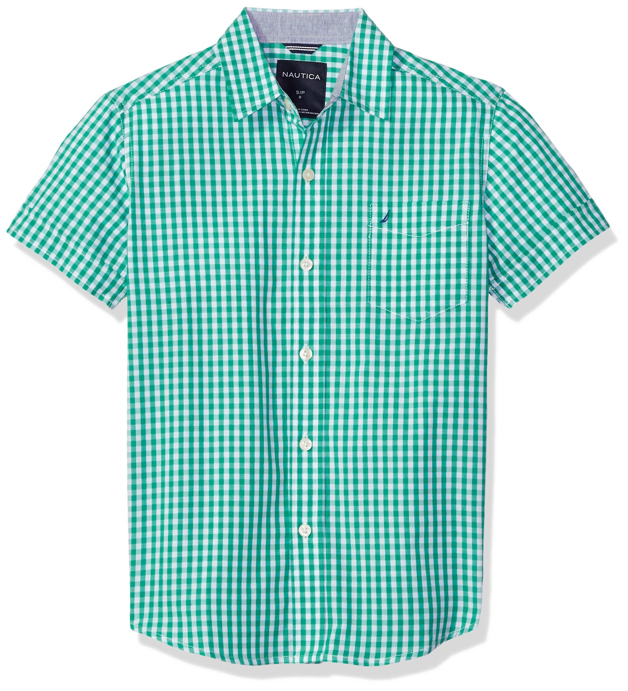 Nautica Boys' Big Short Sleeve Gingham Woven Shirt, Samuel Golf Green, Large (14/16)
