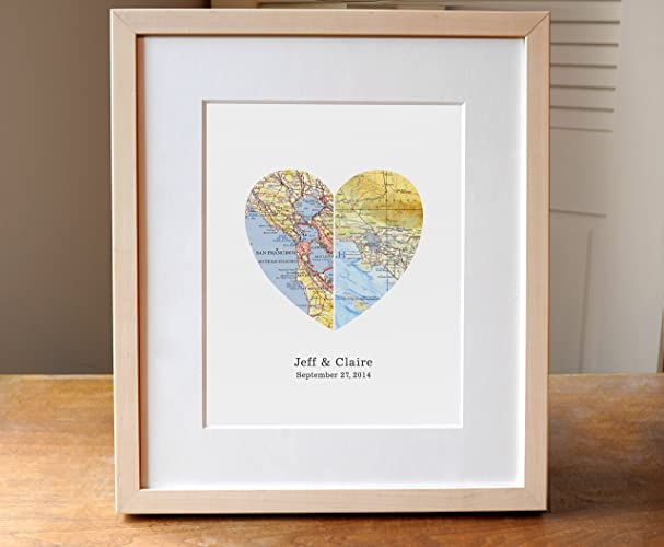 Amazon personalized wedding gift heart map art print personalized wedding gift heart map art print featuring vintage maps and personalized text negle Images