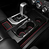 CupHolderHero for Toyota Tundra 2014-2020 Custom Liner Accessories – Premium Cup Holder, Console, and Door Pocket Inserts 29-pc Set (Bucket Seat) (Red Trim)
