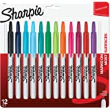 Sharpie Retractable Permanent Markers, Fine Point, Assorted Colors, 12 Count