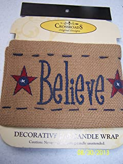 """product image for Crossroads Jar Candle Wrap """"Believe"""""""