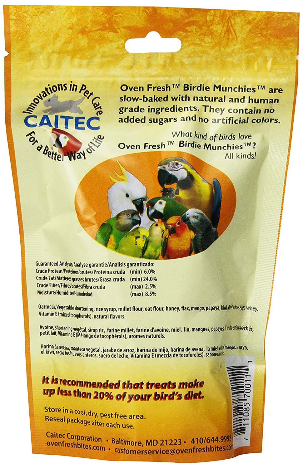 Horno dulce Bites Birdie Munchies Pet Treat, frutas tropicales, 4-Ounce: Amazon.es: Productos para mascotas