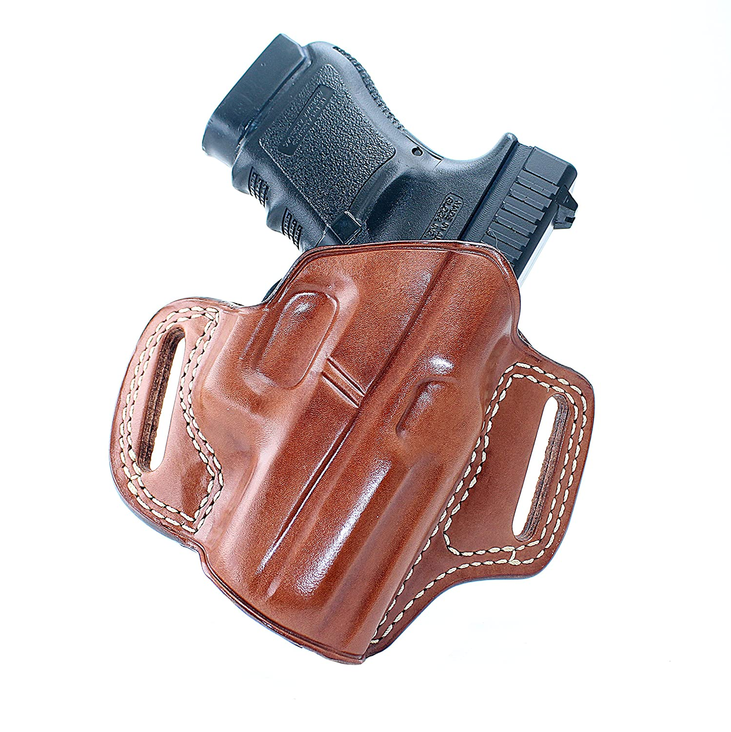 Premium Brown Leather Quick Draw Open Top OWB PADDLE Holster