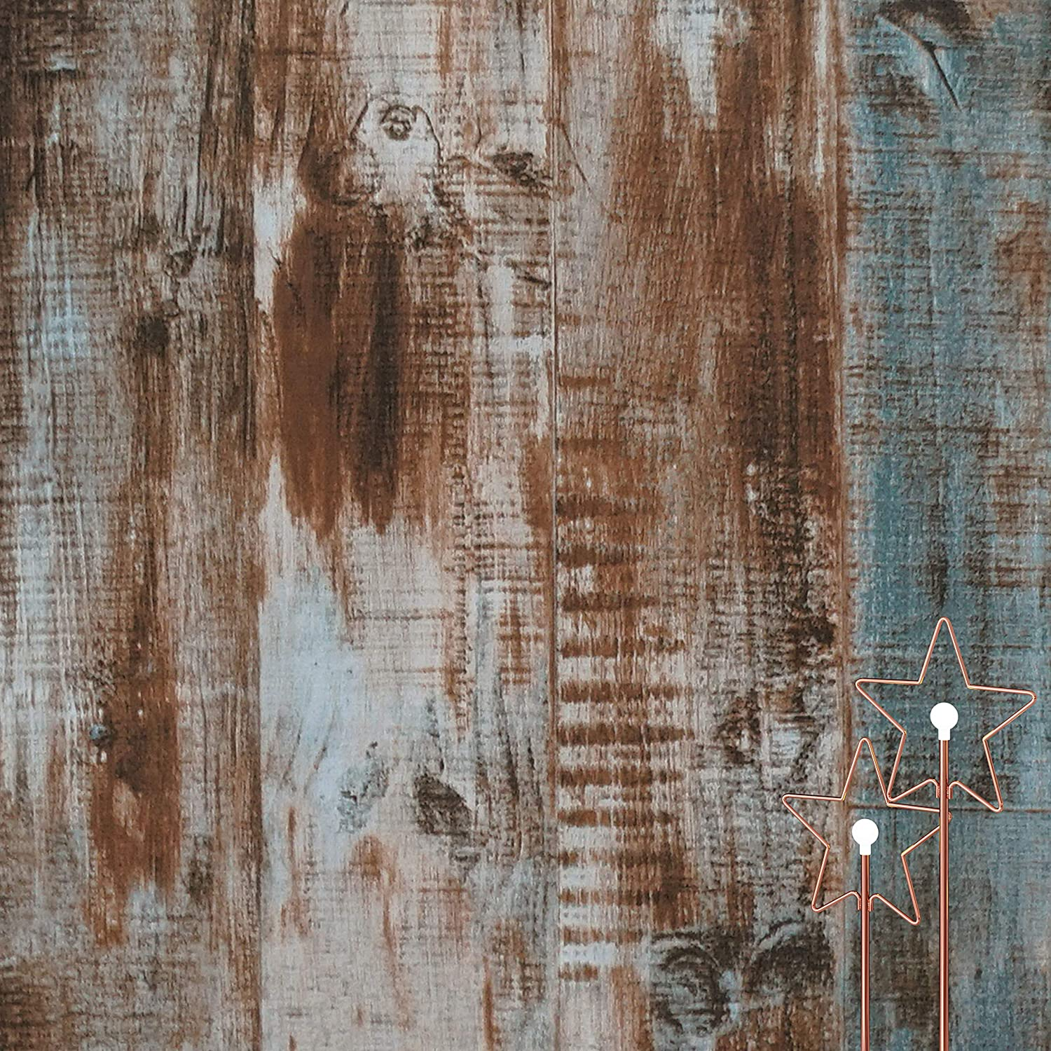Dimoon 118''x17.7'' Wood Peel and Stick Wallpaper Blue Brown Wood Contact Paper Wood Wall Paper Removable Self Adhesive Faux Rustic Wood Contact Paper Grain Texture Vintage Reclaimed Vinyl Roll