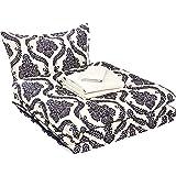 AmazonBasics 6-Piece Comforter Bedding Set, Twin / Twin XL, Blue and Tan Damask, Microfiber, Ultra-Soft