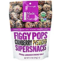 Made in Nature, Organic Figgy Pops, Supersnacks, Cranberry Pistachio, 4.2 oz, Pack of 2