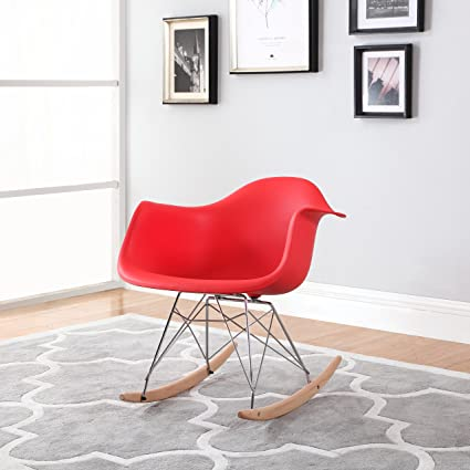 Gentil Modern Set Of 2 EAMES Style Rocking Armchair Natural Wood Legs In Color  White, Black