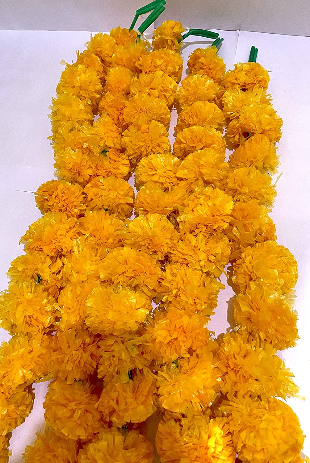 5 Pack Artificial Orange Marigold Flower Garlands 5ft Long for Home Decoration, Photo Prop, Door Hanging, Window Valance, Pooja Decoration, Diwali Christmas Parties, Weddings, Indian Theme Decorations
