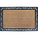 """A1 Home Collections LLC A1HOME200086 Rubber Heavy Doormat, 30"""" X 48"""", Striped Coir Black"""